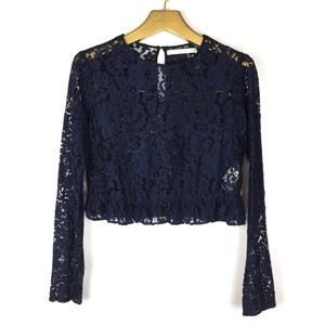 ZARA Floral Lace Long Sleeve Ruffle Crop Top \\ M